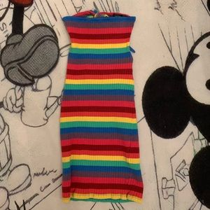 Rainbow strapless bodycon❤️